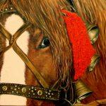 Гуцульская лошадка из Шешор с колокольцами и красным баламбоном,,холст,масло, 40х50,2012 г._Олег М. Караваев