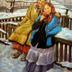 Две девушки на снегу (вольная копия картины Сычкова, 1929г.)Холст,масло 60х80, 2013 г._Олег М. Караваев