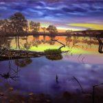 Закат на озері_полотно, олія, 60х80, 2015 р._ В. Пилипенко