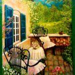 Роспись стены_Цветущий сад_стена,масло,60х80, 2010г._Олег М. Караваев