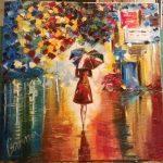 Свободная копия картины Л.Афремова_Принцесса дождя_холст, масло,50х50,2013 г. Анна Прохорова