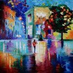 Свободная копия картины Л.Афремова_ Wonderful Night_ холст, масло 50х50,Анна Прохорова
