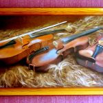 Три скрипки на овчине.холст,масло,40х70,2004 г. _Олег М. Караваев