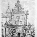 Храм Святого Андрія, Львів, початок ХХ ст., папір, олівец