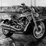 Harley Davidson, бумага, карандаш, гелевые ручки, 30х28, графика, 2014 - Негода Евгения