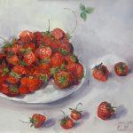Клубника-земляника-Игра. х.м. 50х50_Елена Жигилевич