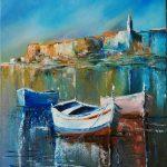 Купить картину-Лодки-2,холст, масло,40х50,2017 г. Ксения Чащина