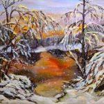 Сніг на озері, полотно, олiя ,Художник Валентина Петрик