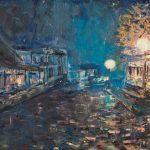 Картина маслом-Художник Елена Жигилевич-Уютный дождь на Подоле, холст, масло,60х80