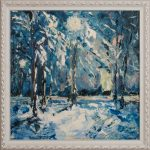 Зима-Winter charm. Oil on Canvas. 40х40-Елена Жигилевич