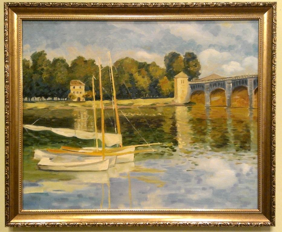 Анна Прохорова, вольная копия картины Клода Моне «Мост в Аржантее» (1874)