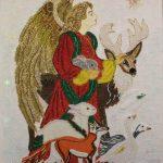 Косик Анастасия, Рождество, мозаика из бисера,стекляруса,рубки, 40х50