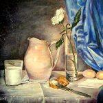 Картина-Молоко и роза, 45х50, акрил, холст на подрамнике, 2018