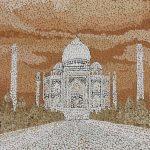 ПЗС - Облака мозаика из неокрашенной яичной скорлупы 30х35 Анастасия Косик