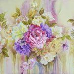 Цветочная рапсодия, акрил, холст 85х55-Анна Стешенко