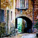 Итальянский дворик №1, Серия_города,где я бывал,40х50,2005г.Караваев О.-картины художников