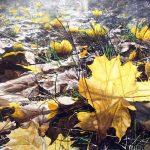 Купить картину-Молча ложится осень листьями на пути,бумага акварель,38х56,2017 г. Сергей Григорьев