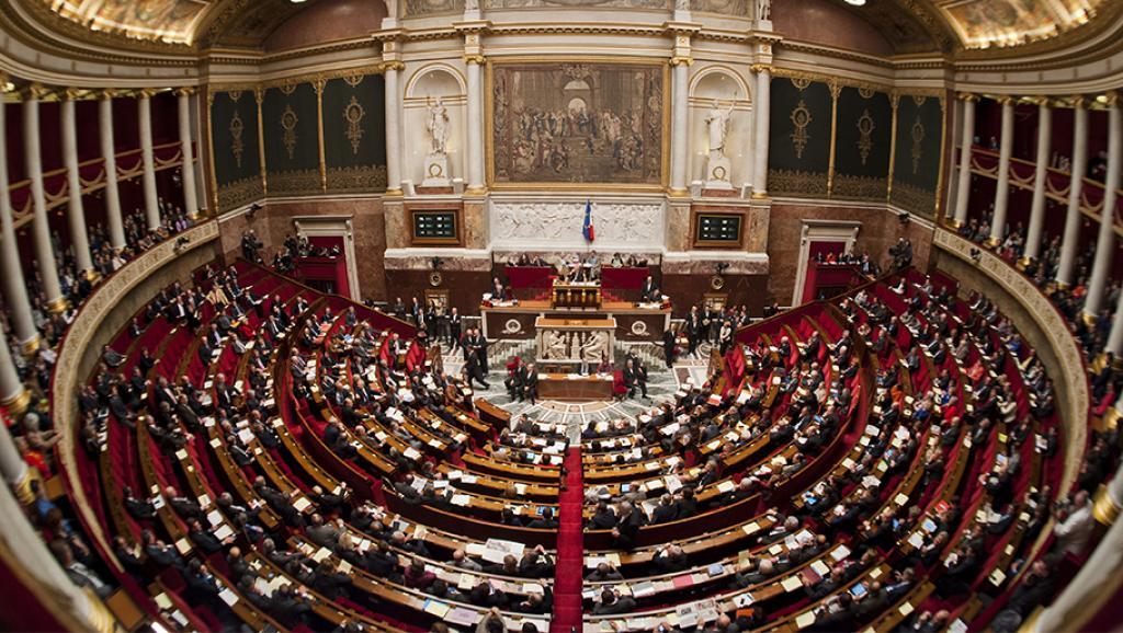 Парламент Франции с гобеленом фрески Рафаэля- Афинская школа.