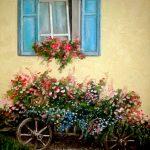 Цветочная телега,холст, масло,40х60,2011 г.-картины художников