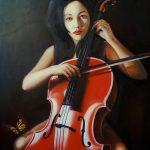 Girl ,cello & Monarch-butterfly,холст,масло, 70х100, 2017 г. Андрей Халтурин