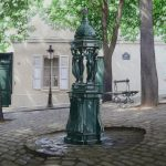 The bench, the Wallace Fountain, and candelabra-картина