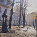 Twilight on Place Emile Goudeau in Montmartre, 35х55-заказать картину