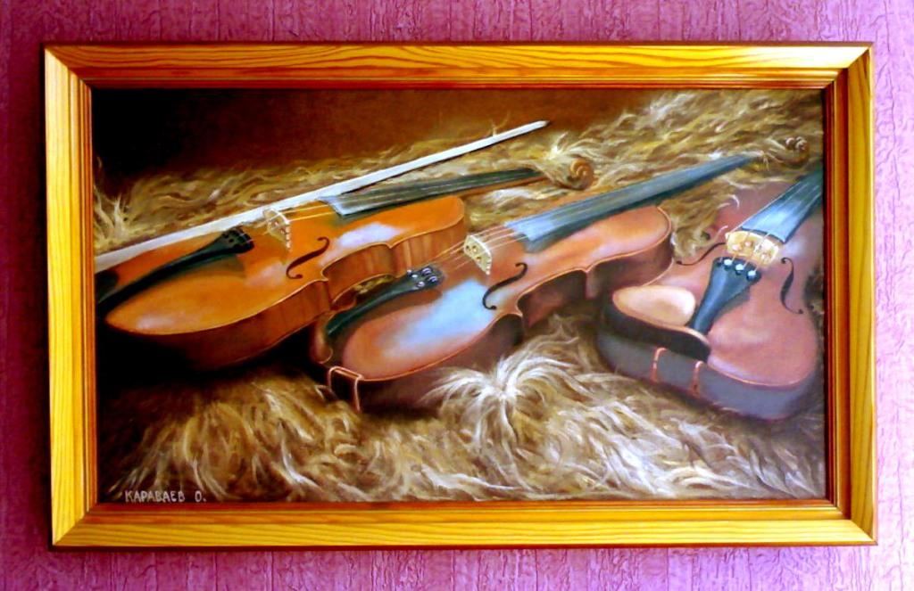 Картина-Три скрипки на овчине.холст,масло,40х70,2004 г. Олег М. Караваев