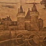 1-е место - Мост в замок Франция, граттаж (резьба) по натур.коже 40х60,, 2017г.-Сергей Ильчук