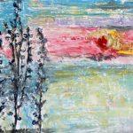 Зима. Рассвет в деревне, картон, масло, муранское стекло собственного плавления, природный материал, 20х25,-Марго Пугаченко, (г. Львов)