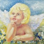 Ангел на лугу, 24х18, 2019, -Юлия Орлова