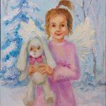 Ангел с зайкой, 18х24, 2019 -Юлия Орлова