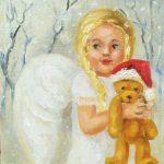 Ангел с мишкой, 24х18, 2019, -Юлия Орлова