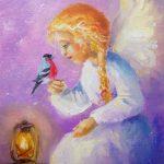 Ангел с птичкой, 20х30, 2019 -Юлия Орлова