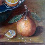 Апельсин; 20х20; масло, картон; 2014; Анна Колесник