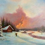 Зимний пейзаж, авторская работа. «Тепло близко», холст, масло, 50х70-- А.Алёхина