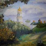 Лаврская колокольня; 50х40; масло, картон; 2014; Анна Колесник