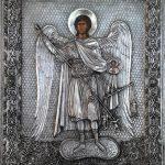 Оклад к иконе св Архистратига Михаила; 23х29; лепка, гальваника, серебрение; 2015; Мастер Анна Колесник