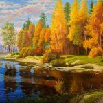 Осенний пейзаж, (вольная копия из Инет), холст, масло, 80х110, 2020 г. -Анастасия Алёхина