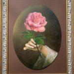 Роза, авторская работа, картон, масло,30х40- А.Алёхина