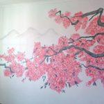 Роспись стены Сакура; 2019; Художник Анна Колесник