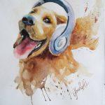 Собака-меломан-30Х40-бумага-акварель-2017-Орлова-Юлия
