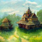 Старая церковь в Ворохте; 50х40; масло, картон; 2015; Анна Колесник