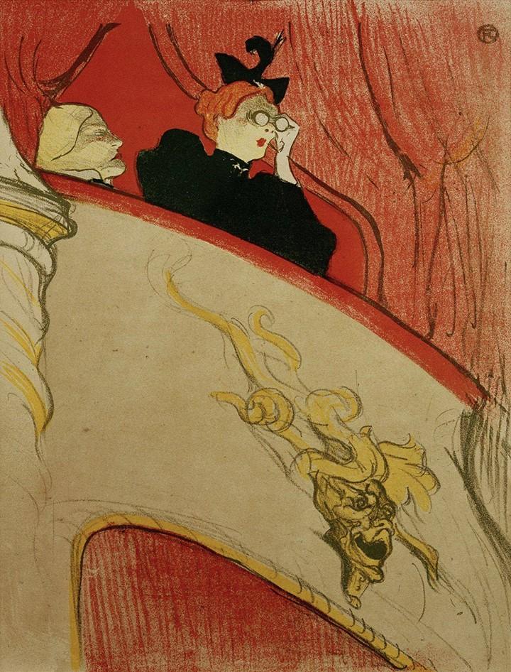 """Анри-Тулуз Лотрек """"Коробка с золотой маской"""", 1894 год - Цвет красный, заказать картину - копию"""