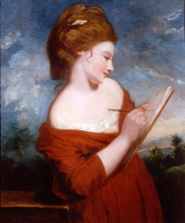 """Цвет настроения-красный_Заказать картину в красном-Джошуа Рейнольдс """"Мисс Элизабет Джонсон"""", 1780 год, http://clc.am/jLd6dw"""