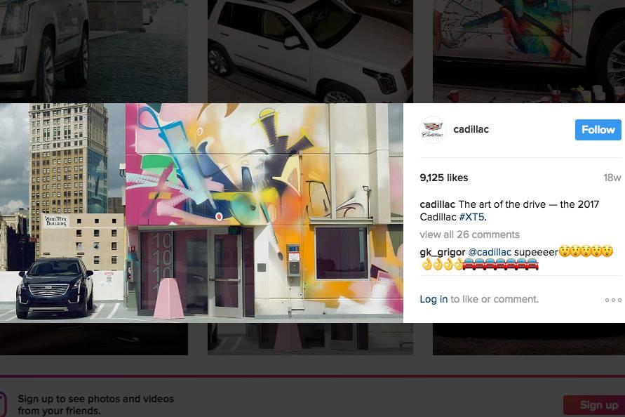 Реклама General Motors в Instagram