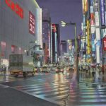 A monsoon night on Shinjuku at Tokyo бумага,акварель, 40х52 - Тьерри Дюваль
