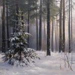 1-е место В зимнем лесу, 50х70, холст, масло, 2018г. Стаин Евгений