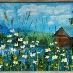 ПЗС - Уютный домик у реки, масло, картон, 20х40, 2019г.- Бумбур Евгений