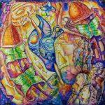 ПЗС - Человек-песчинка, витражная роспись, акрил, стекло, 50х50, 2017г.-Карина Бойко
