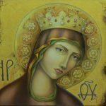 Ікона Пресвятої Богородиці, холст, доска, олія, 45х55, 2013-Ірина Стасюк